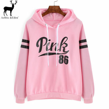 New Survetement Femme Marque Winter Pink Printing Hooded Easy Leisure Fleece Hoodies Moletom Feminino Sweatshirts Kpop Women