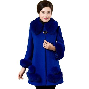 L-6XL Plus Size Women's Wool Coat Elegant Casaco Feminino Ladies Long Cashmere Winter Outerwear Female Fur Collar Jackets XH1040