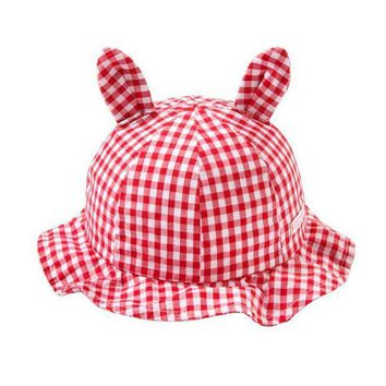 ESB1ON Girl Baby Kid Plaids & Checks Outdoor Bucket Hats Summer Sun Beach Bonnet Beanie Cap 6-18 Months