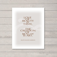 LOVE OF BEAUTY inspirational quote typographic by typeandimage