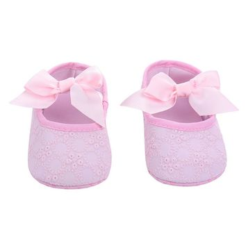 Lovely Baby Girl Boy Toddler Newborn Ribbon Bowknot Soft Crib Shoes Princess Floral Non-slip Soft-soled Shoes 0-18M