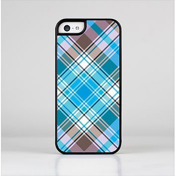 The Gray & Bright Blue Plaid Layered Pattern V5 Skin-Sert Case for the Apple iPhone 5c
