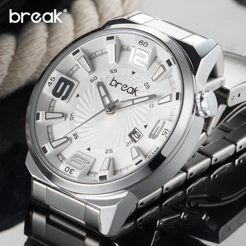 BREAK Top Brand Men Stainless Steel Band Quartz Wristwatches Fashion Sports Creative Calendar Watches Gift Dress for Boy