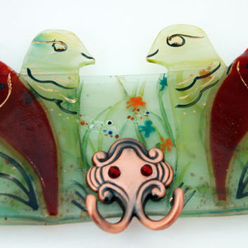Wall Hanging hooks -  organizer  panel -  Two birds in green & red wall decor