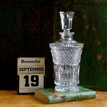 Vintage Lead Crystal Glass Decanter - Beveled - Tall Stopper - Heavy - Cottage Decor