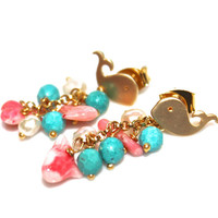 Gold Whale Earrings Coral Turquoise Freshwater Pearl Cluster Earrings Handcrafted Gemstone Jewelry