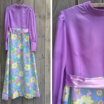 Vintage dress | 1970s mod psychedelic pastel floral print long sleeve hippie maxi dress
