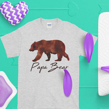 Papa Bear Short-Sleeve T-Shirt Daddy Bear Gift Ideas, Christmas Present From Daughter