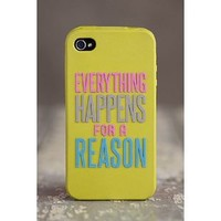 "Trendy Lime Green Natural Life ""Everything Happens For A Reason"" Words of Wisdom Motif iPhone Cover Phone Case 4/4S"