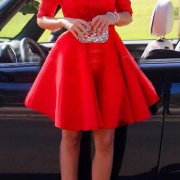 HOT RED LACE DRESS