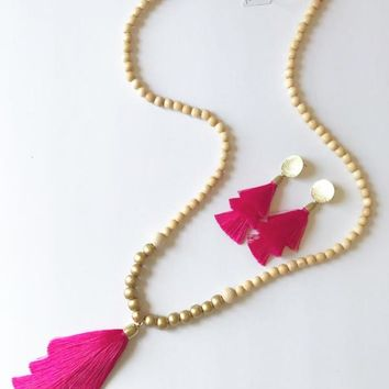 Fiesta In Fuchsia Tassel Necklace