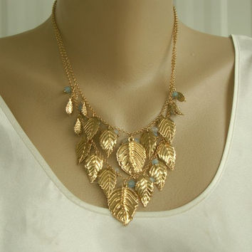 Avon Cascading Blue Bead Goldtone Leaves Multi-Chain Bib Necklace
