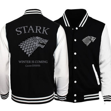 Game of Thrones baseball jackets 2017 Men women Stark unisex hoodies spring autumn fashion sweatshirt Winter Is Coming tracksuit