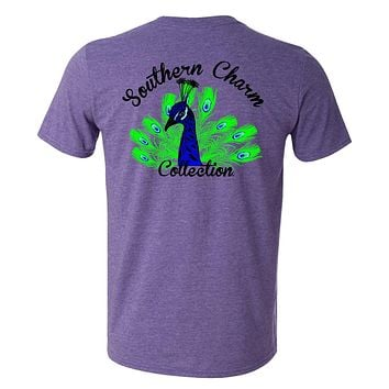 Southern Charm Collection Peacock on a Heather Purple Short Sleeve T Shirt