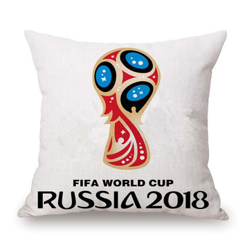 Russia 2018 World Cup Cotton Linen Pillow Covers Futbal Competition Stadium Back Pillow Case Vintage Printed Cushion Cover PC453