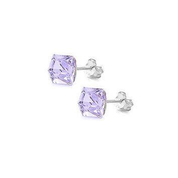 Sterling Silver Swarovski Crystal Cube 6mm Stud Earrings -Lavender