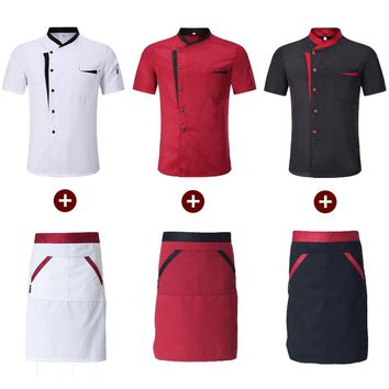 Short Sleeve Spliced Chef Cooking Workwear High Quality Catering Restaurant Coffee Shop Waiter Uniforms Casual Tops Aprons