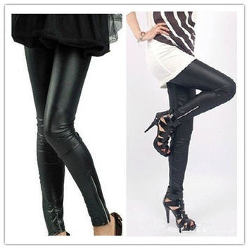 Black Korean women's  fashion leather leggings zipper (Color: Black) = 1932043460
