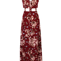 Burgundy Floral V-neck Cut Out Side Split Cami Maxi Dress