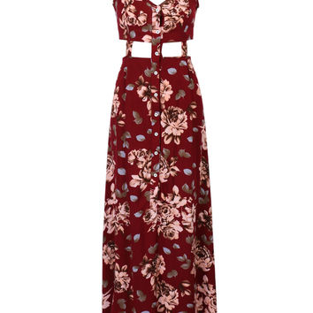 Red Wine Floral V-neck Cut Out Side Split Cami Maxi Dress