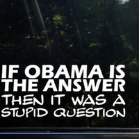 If Obama is the answer - then it was a stupid question funny die cut decal / sticker