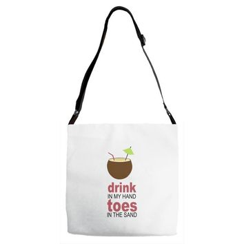 drink in my hand Adjustable Strap Totes