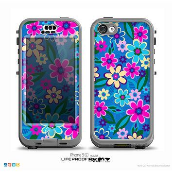 The Bright Pink & Blue Vector Floral Skin for the iPhone 5c nüüd LifeProof Case