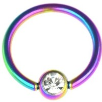 14g 1/2 Inch Surgical Steel Rainbow Titanium IP Jeweled Captive Bead CBR Hoop Ring