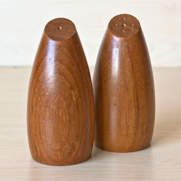 Mid Century Danish Style Bullet Shaped Wood Salt and Pepper Shakers