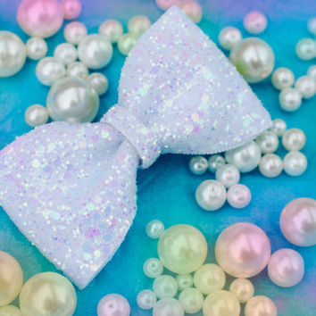 Pastel White Snow Glitter Hair Bow Sparkly Cute Kawaii Glitter Bow