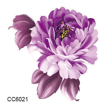 2 pcs Floral Tattoo Purple Color Flower Peony Temporary Tattoos Sticker Body Art Water Transfer Sticker Decals