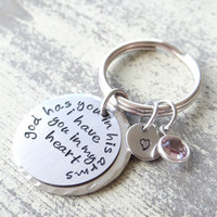 Memorial keychain, sympathy keychain, loss, loss of family, god has you in his arms keychain, i have you in my heart keychain, memorial, infant loss, loss of parent, loss of sibling
