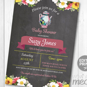 Tea Party Baby Shower Invitation DOWNLOAD Elegant Floral Rose It's a Boy Girl Couple Gender Reveal Invite Teapot Cup Personalize Printable