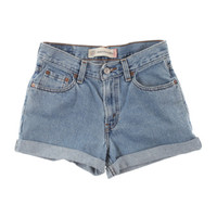 Rokit Recycled Stonewash Blue Denim Turn Up Shorts W28 | Shorts | Rokit Vintage Clothing