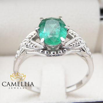14K White Gold Emerald Engagement Ring Unique Emerald Ring 1.5carat Oval Cut Colombian Emerald