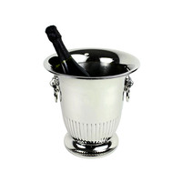 Champagne Ice Bucket Lion Ring Handles Silver Plated by Elegance