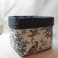 Pretty Nature Print Toile Fabric Basket