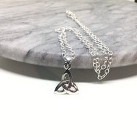 Triquetra Necklace Sterling Silver Trinity Knot Small Celtic Pendant Silver Celtic Knot Necklace 925 Silver Triquetra Pendant