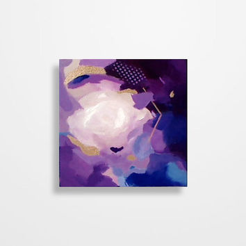 Abstract Heart Painting Valentines Day gift Violet Purple Blue Gold Original painting on 8 x 8 inch canvas by Magier