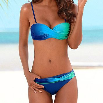 2 Piece Brazilian Gradient Print Swimsuit