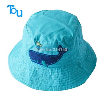 TOU free shipping baby lovely shark sunhat kids fashion cotton visor baby boy 's Fashion Knitted Reversible hat bucket cap 1pc