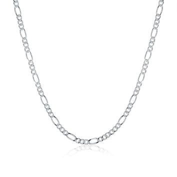 Long Chain 16-24INCH Necklace Men Jewelry Wholesale Price 925 Fashion Silver Plated Figaro Necklace Women Gift 3:1 2MM Wide
