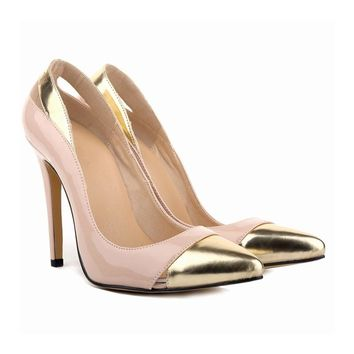 STYLEDOME Sexy Patchwork Golden Pointed Toe High Heels Size 34-42 New Brand Wedding Pumps Shoes 2018 Time-limited Women Wedding Pump A039
