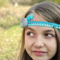 Boho Chic Tieback - Turquoise blue Tassel ribbon and gray rolled rosette READY TO SHIP - Matilda Jane - Mustard Pie