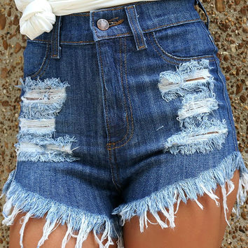 Regina High Waist Dark Denim Distressed Front Frayed Edge Jean Shorts