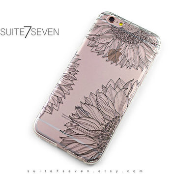 iPhone 6 Case, iPhone 6s Case, iPhone 7 Case, iPhone 6 Plus Case, Clear Case, Galaxy S7 Case, Samsung Galaxy Case, Sunflower