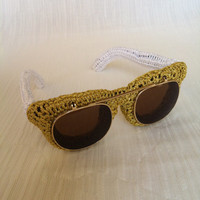 Golden - White Knitted Sunglasses