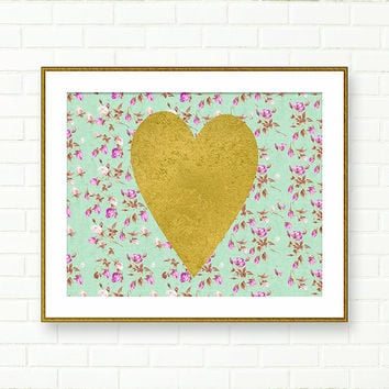 Heart Print, Gold Heart Wall Art, Printable Art, Nursery Heart, Gold Foil, Shabby Chic, Gold Teal, INSTANT DOWNLOAD, Cottage Chic, Purple
