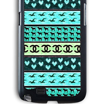 Samsung Galaxy Note 2 Case - Rubber (TPU) Cover with red hollister seagulls chanel sign hearts stripes Rubber Case Design