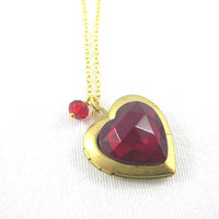 Valentine Vintage red jewel heart locket necklace